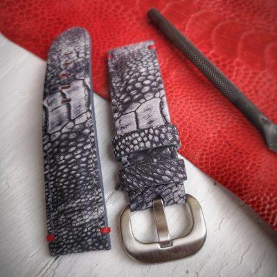 Padded ostrich leg skin strap